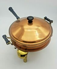 Vintage 5 piece Copper Fondue Chafing or warmer Dish Double Boiler
