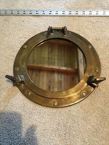 "11"" Antique Brass Finish Porthole Mirror ~ Nautical Maritime Wall Decor ~ Window"