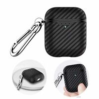 For Apple Airpods 2 Carbon Fiber Pattern Earphone Rugged Shockproof Case Skin