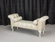 """56"""" Settle in a Gold Woburn Stripe Fabric with 2 matching bolster cushions"""