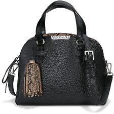 NWT Brighton HARLEY Domed Satchel Black Leather Cross Body Purse Bag MSRP $435