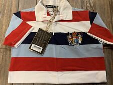 NWT Boys $55 Canterbury of New Zealand Red White & Blue Polo/Rugby Shirt Large