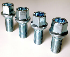 alloy wheel bolts nuts lugs M14 x 1.5, 17mm Hex, 27mm thread, Radius seat. x 4
