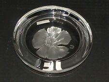 Signed Scandinavian Art Glass Crystal Clear Orchid Flower Etched Dish Ashtray