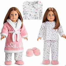 American Girl Molly Emily Chenille Robe Slippers & Warm Flannel 2-Pc Pajamas MIB