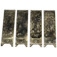 4 Antique Chinese Solid Silver Zu Yin Hallmarked Scroll Weight Plaques Guangxu