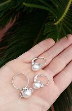 Completo orecchini e anello perla argento 925