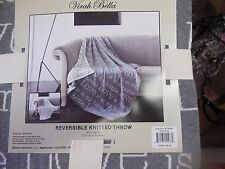 VIRAH BELLA  REVERSIBLE KNITTED  Throw Blanket Gray and White