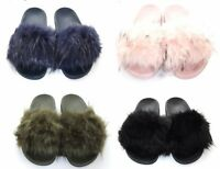 Womens Ladies Slip On Fur Sliders Summer Sandals Size UK 3-8