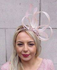 Rose Gold Light Blush Peach Pink Feather Sinamay Fascinator Headband Races 4502