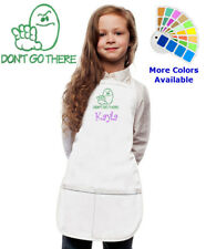 Personalized Kids Apron with Don't Go There Funny Embroidery Design