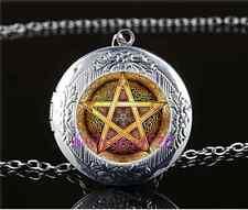 Celtic Golden Pentacle Cabochon Glass Tibet Silver Locket Pendant Necklace