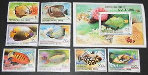 1980 Zaire Complete MNH set - Tropical Fish Scott 974-981A