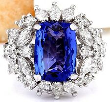 5.35CTW NATURAL TANZANITE AND DIAMOND RING IN 14K WHITE GOLD
