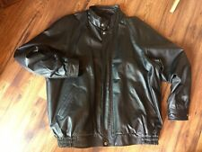 Premier Man Black Leather Bomber Jacket Size 2XL