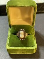Antique Victorian Edwardian 14k Rose Gold Cameo Ring w/Seed Pearls-Size 8 - 3.8g