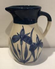 New Listing1999~Emerson Creek~Art Pottery~Bedford~Va~Pitche r~Hand Painted~Blue Iris~Ceramic