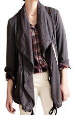 Anthropologie Layered Etta Anorak XSmall 0 2 Grey Oversized Lace Trim Tie Bottom