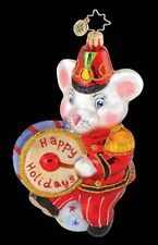 RADKO MARCHING MAXWELL Circus Mouse with Drum Glass Ornament Made in Poland