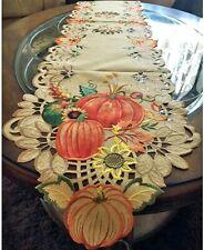 """Thanksgiving Fall Decor Table Runner Pumpkin Sunflower Wheat 68""""x 13"""" Embroider"""