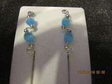 Pair Blue Cat Eye Ear Vines Climbers Ear Pins Sterling Silver Filled Wire