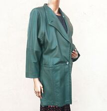 LNR Sz S buttery soft green leather coat jacket mid length made USA