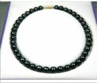 18inch 9-10MM TAHITIAN NATURAL BLACK PEARL NECKLACE 14k GOLD CLASP