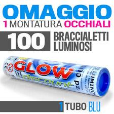 100 BRACCIALETTI LUMINOSI BLU fluo DJ starlights led BRACCIALI glowstick- 30333