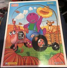 1994 Playskool Barney the Purple Dinosaur Wooden Tray Puzzle Fun On the Farm