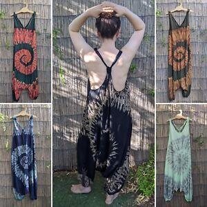 Tie dye jumpsuit hippy hippie boho festival drop crotch harem baggy dungarees