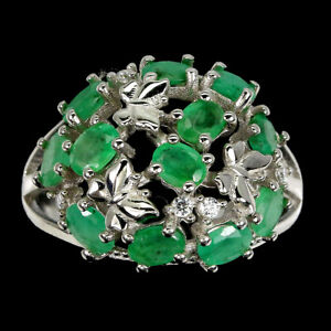 Unheated Oval Emerald 4x3mm Cz 14K White Gold Plate 925 Sterling Silver Ring 7.5