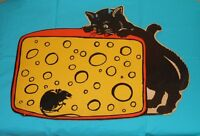 vintage Beistle Halloween BLACK CAT AND MOUSE WITH CHEESE decoration cutout