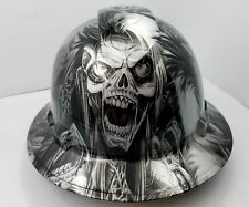 FULL BRIM Hard Hat custom hydro dipped SILVER  N BLACK CYBORG SKULL SICK NEW