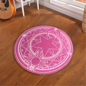 Anime Card Captor Sakura Cartoon Magic Carpet Round Bedroom Mat Floor Blanket