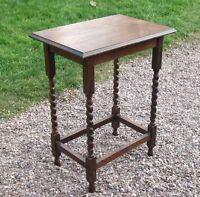 Vintage Solid Oak Side Table / Occasional Table / Hall Table / Barley Twist Legs