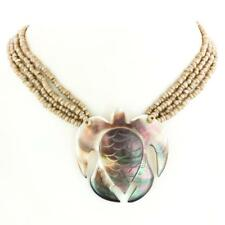 """2"""" STUNNING TURTLE MOTHER OF PEARL SHELL BEIGE BEADS necklace"""