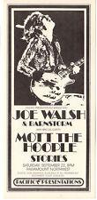 VINTAGE '73 JOE WALSH AND BARNSTORM with MOTT THE HOOPLE Mint Concert Handbill