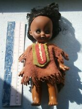 VINTAGE RUBBER BLACK FACE GIRL AFRICAN AMERICAN INDIAN DRESS TOY DOLL  BLUE EYES