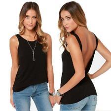 Moda para mujeres de verano sin espalda sin mangas de color sólido Camiseta sin mangas 0016