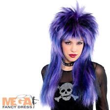 80's Rocker Purple Wig Adults Fancy Dress Rock Star Celebrity Costume Accessory
