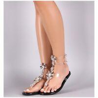 Liliana MARLO-9 Black Clear Strappy Flat Gladiator Sandal Large Rhinestones