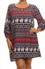 WOMENS PLUS DRESS 1X TUNIC TOP NEW ELEPHANT 14 16 XL NWT CUTE BTS GAME DAY DEAL