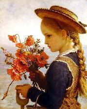 Large Vintage BAUERLE Print Portrait Victorian Child POPPY GIRL Flower Straw Hat