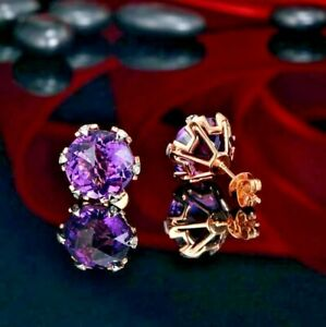 2.40Ct Round Cut Amethyst Diamond Solitaire Stud Earrings 14K White Gold Finish