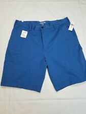 NEW!!! IZOD Mens Saltwater Flat Front Stretch Chino Shorts Blue Size 36 NWT
