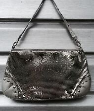 WHITING & DAVIS Silver Mesh Leather Studded Handbag RARE!!