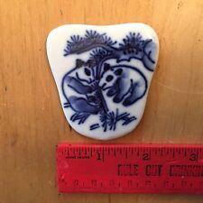 Vintage Asian Handmade Porcelain Cobalt Blue Panda bears Mirror Brooch Part back