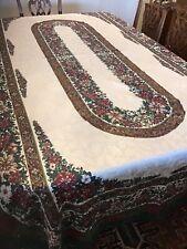 Vintage Fashion Industries Christmas Tablecloth Red & White Poinsettias