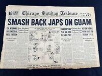 Smash Back Japanese on Guam Hitler 1944 Old Newspaper Chicago Tribune Jul 23