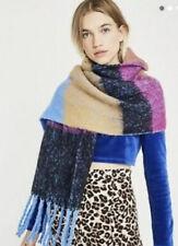NEW Urban Outfitters Blanket Scarf Rainbow Stripe Plush Fleece Fringe